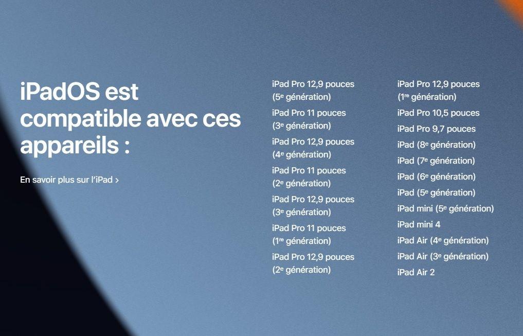 iPadOS 15 iPad eligible