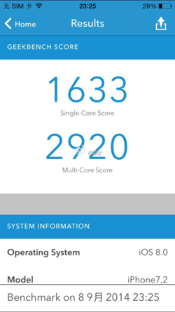 iPhone 6 benchmark Geekbench