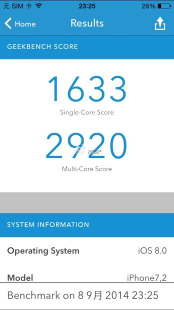 iPhone 6 benchmark Geekbench