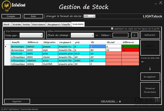 Light stock screen