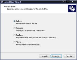 Locked Files Wizard screen 1