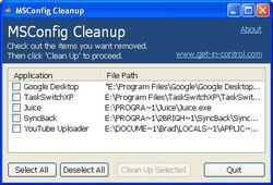MSConfig Cleanup screen 1
