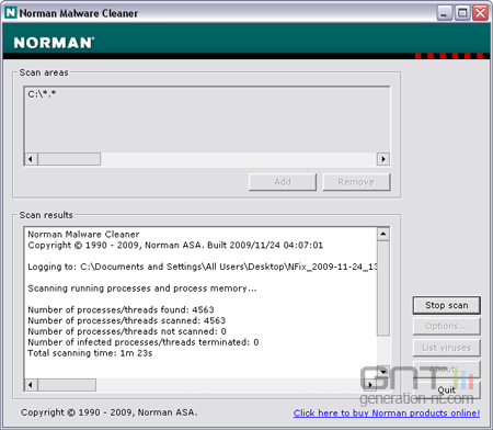Norman Malware Cleaner screen