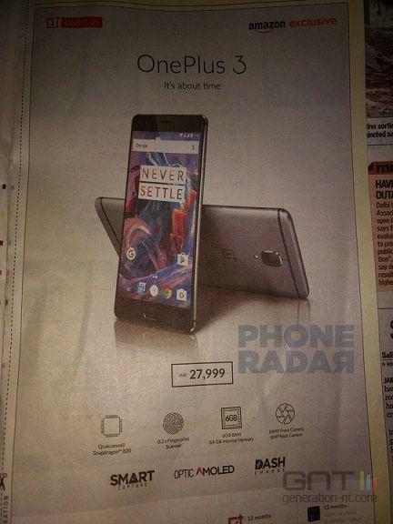 OnePlus 3 publicite inde