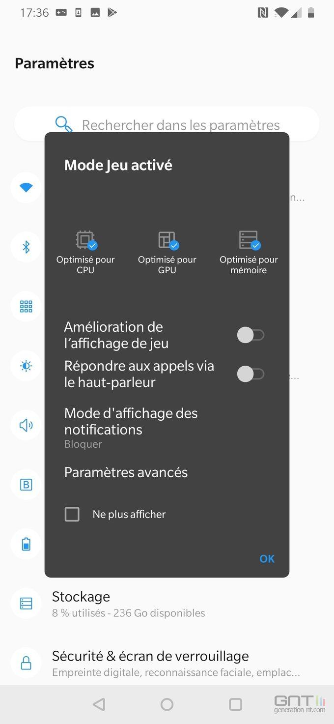 OnePlus 7 mode jeu