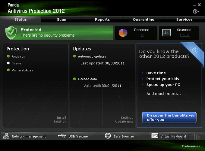 Panda Antivirus Pro 2012 screen 2