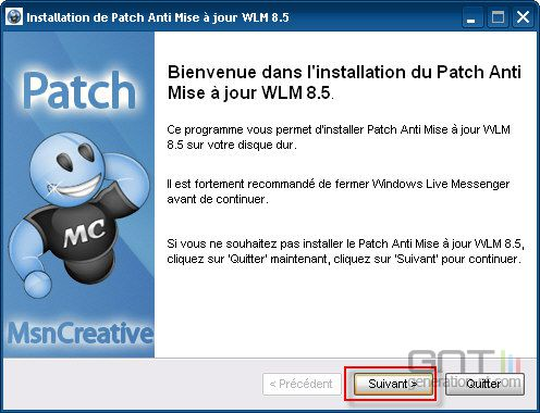 patch anti mise a jour wlm 9