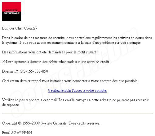 arnaque de type phishing visant les clients soci t g n rale. Black Bedroom Furniture Sets. Home Design Ideas