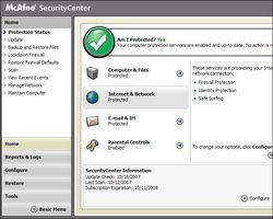 McAfee Total Protection screen