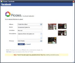 Picasa Facebook Uploader screen1