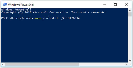 PowerShell-desinstallation-kb3176934
