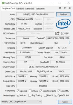 RedmiBook 14 - GPU-Z Intel UHD Graphics 620