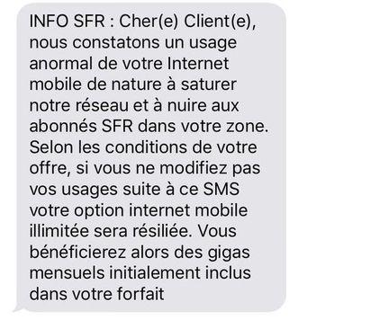 SMS SFR internet illimité