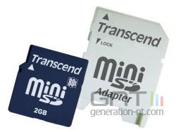 Transcend 2gb 80x minisd with adapter small