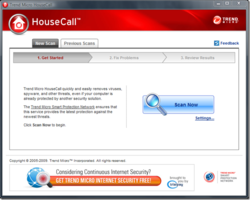 Trend Micro HouseCall screen 1