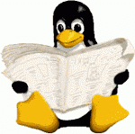 Tux lit un journal