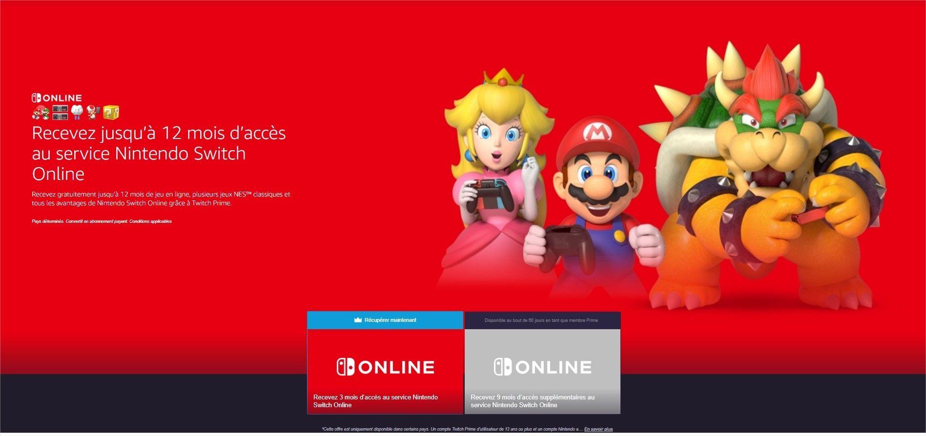 Amazon / Twitch Prime : 1 an d'abonnement au Nintendo Switch Online offert
