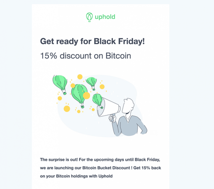 Uphold arnaque Black Friday Bitcoin