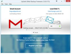 UpSafe GMail Backup screen