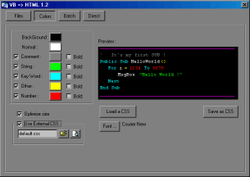 VB 2 HTML screen