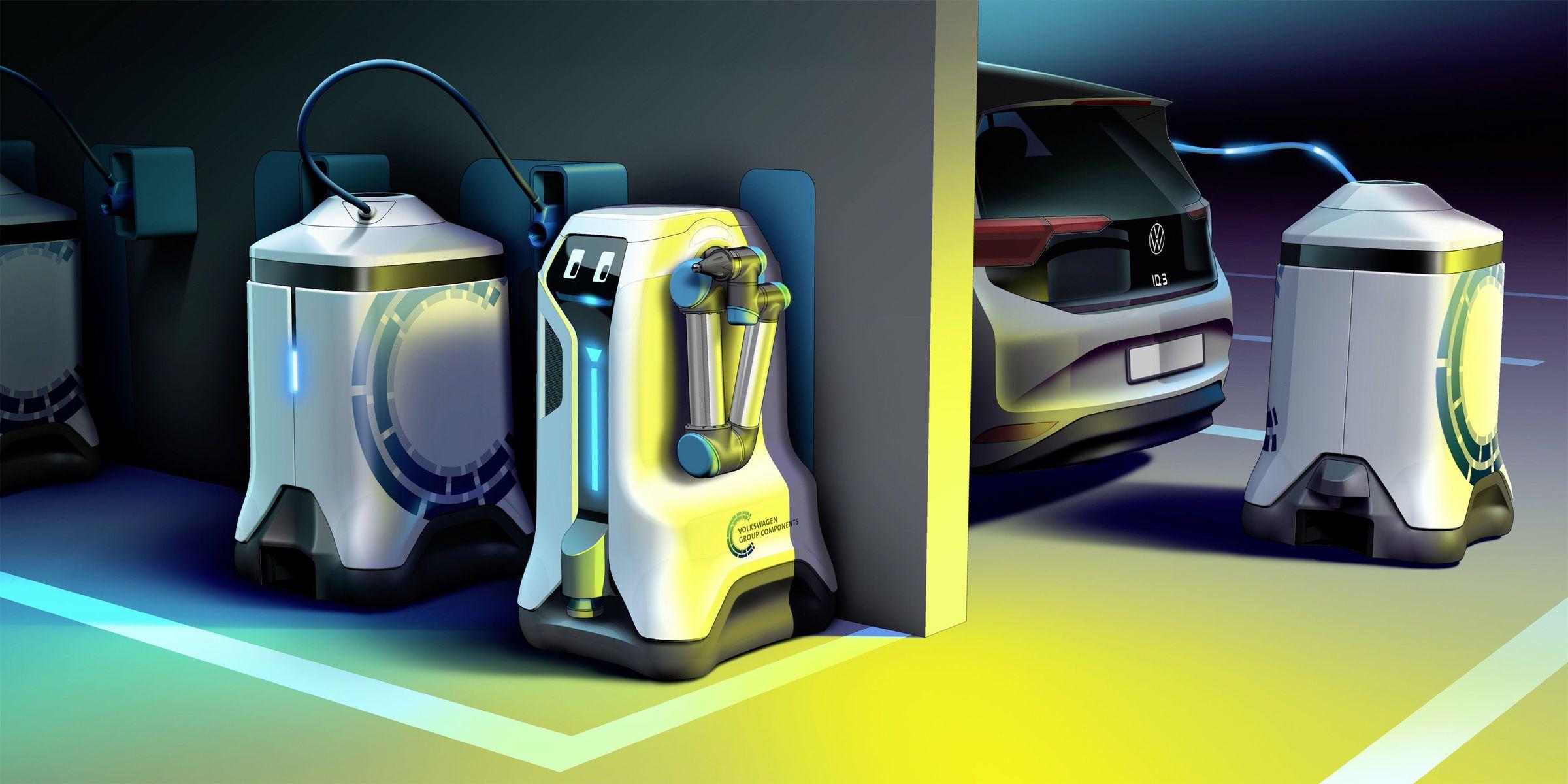 Volkswagen imagine un robot mobile pour charger les véhicules électriques