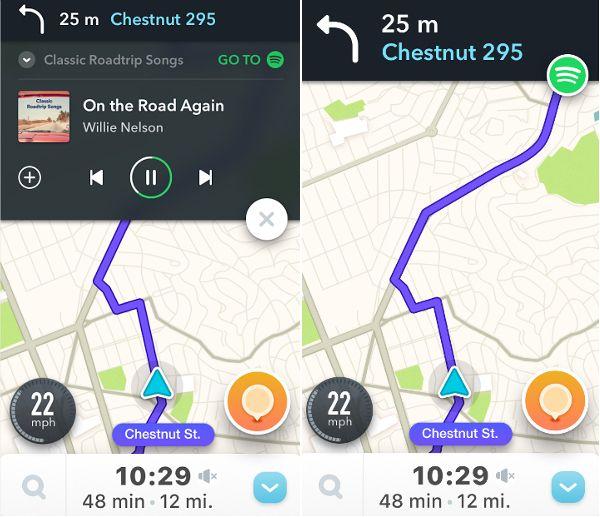 Waze communique désormais avec Spotify sur iOS