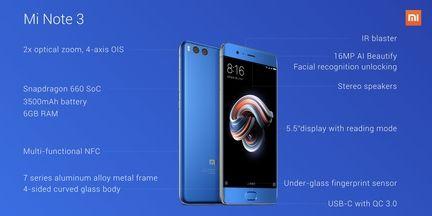 Xiaomi Mi Note 3 specs.