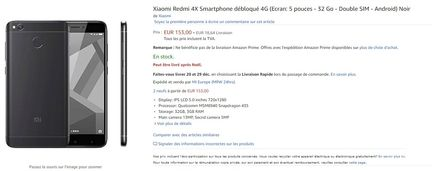 Xiaomi Redmi 4X Amazon france