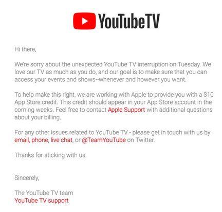 YouTube TV remboursement